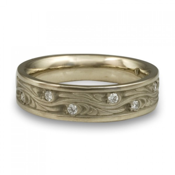 Narrow Starry Night With Diamonds Wedding Ring in 14K White Gold