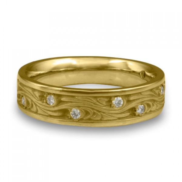 Narrow Starry Night With Diamonds Wedding Ring in 14K Yellow Gold