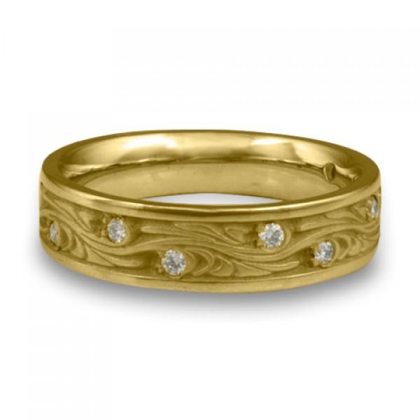 Narrow Starry Night With Diamonds Wedding Ring in 14K Yellow Gold
