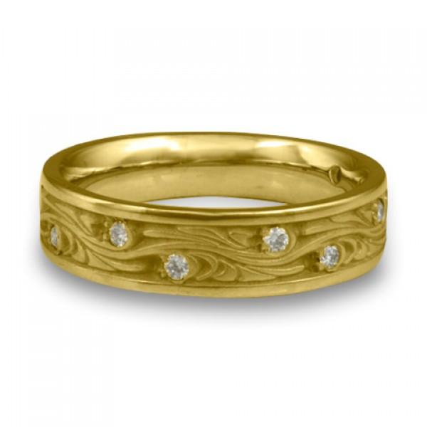 Narrow Starry Night With Diamonds Wedding Ring in 18K Yellow Gold