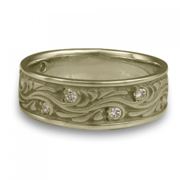 Wide Starry Night With Diamonds Wedding Ring in 18K White Gold