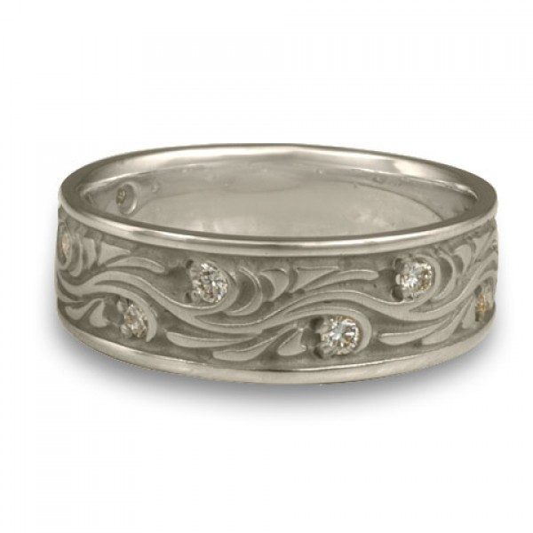 Wide Starry Night With Diamonds Wedding Ring in Platinum