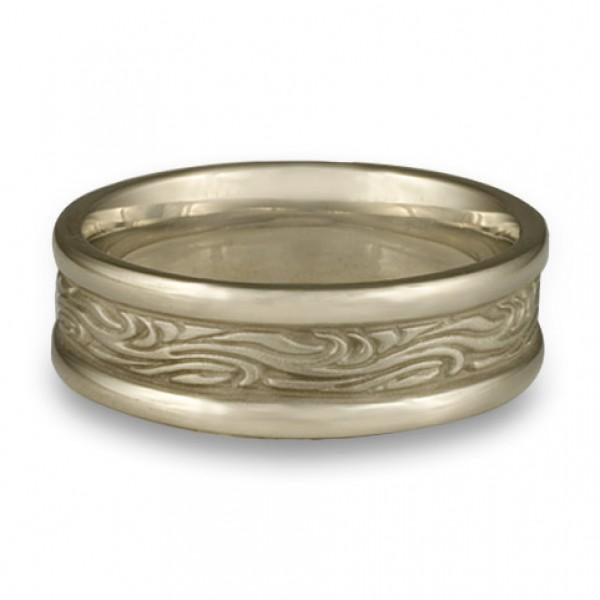 Narrow Self Bordered Starry Night Wedding Ring in 18K White Gold