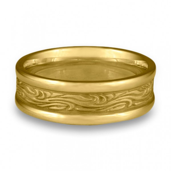 Narrow Self Bordered Starry Night Wedding Ring in 18K Yellow Gold
