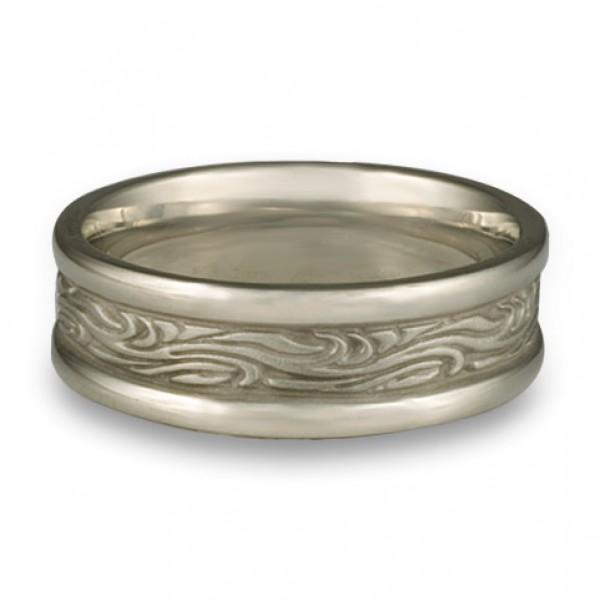 Narrow Self Bordered Starry Night Wedding Ring in Platinum