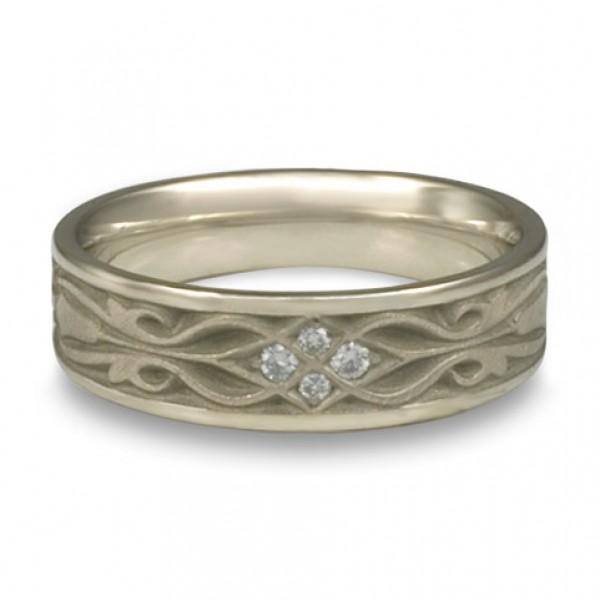 Narrow Tulip Braid Wedding Ring with Diamonds in 14K White Gold
