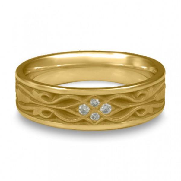 Narrow Tulip Braid Wedding Ring with Diamonds in 14K Yellow Gold