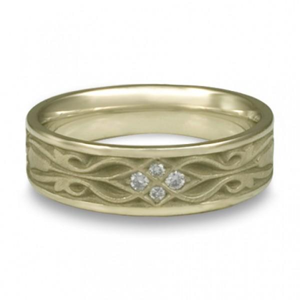 Narrow Tulip Braid Wedding Ring with Diamonds in 18K White Gold