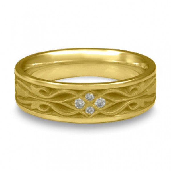 Narrow Tulip Braid Wedding Ring with Diamonds in 18K Yellow Gold