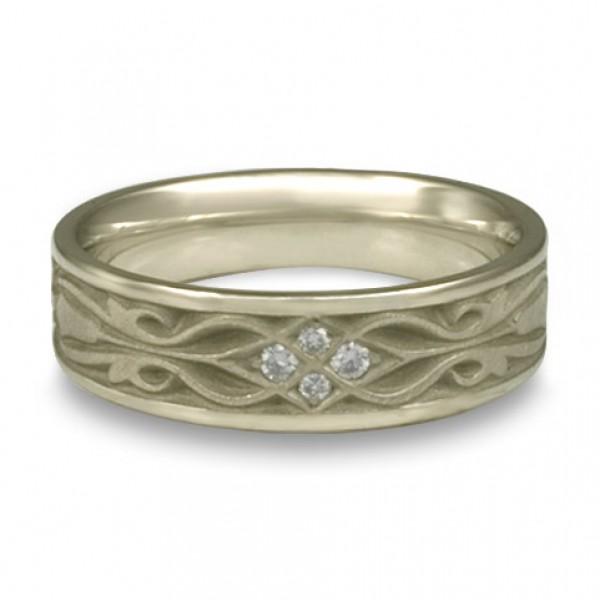 Narrow Tulip Braid Wedding Ring with Diamonds in Platinum