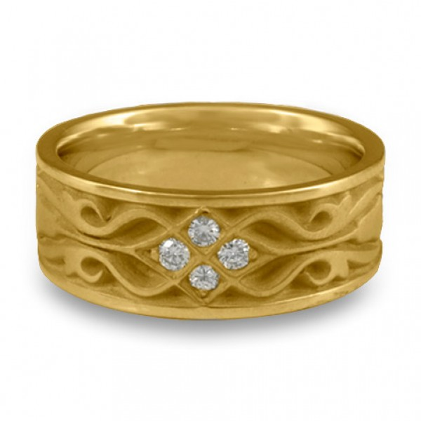 Wide Tulip Braid Wedding Ring with Diamonds in 14K Yellow Gold