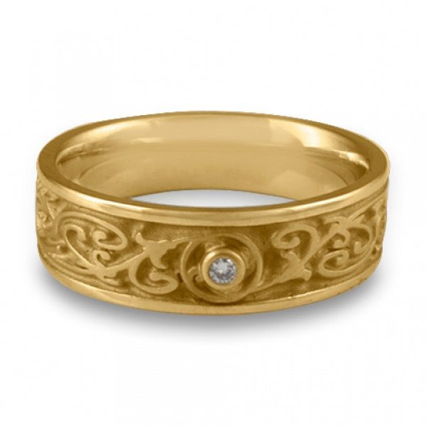 Narrow Garden Gate With Diamond Wedding Ring in 14K Yellow Gold
