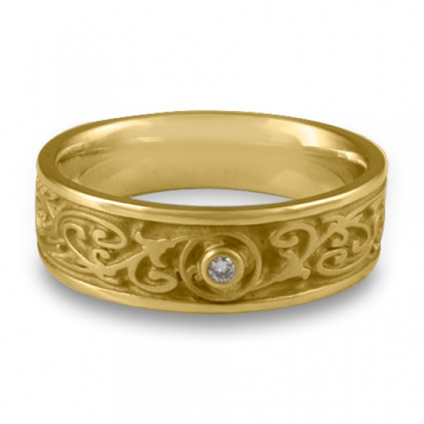 Narrow Garden Gate With Diamond Wedding Ring in 18K Yellow Gold