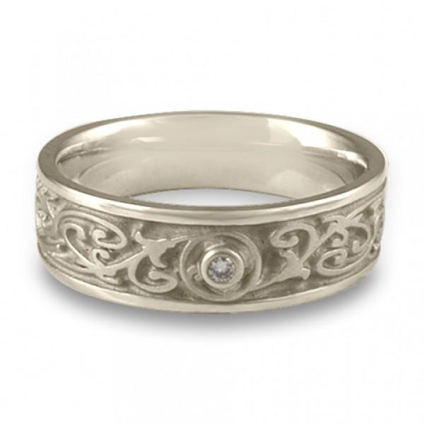 Narrow Garden Gate With Diamond Wedding Ring in Platinum