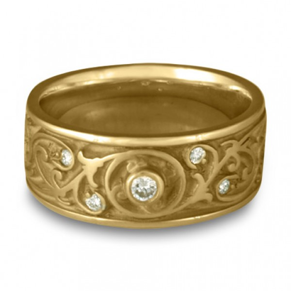 Wide Garden Gate Wedding Ring with Diamonds in 14K Yellow Gold