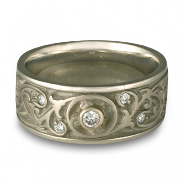 Wide Garden Gate Wedding Ring with Diamonds in Platinum