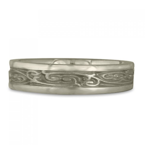 Extra Narrow Continuous Garden Gate Wedding Ring in 14K White Gold