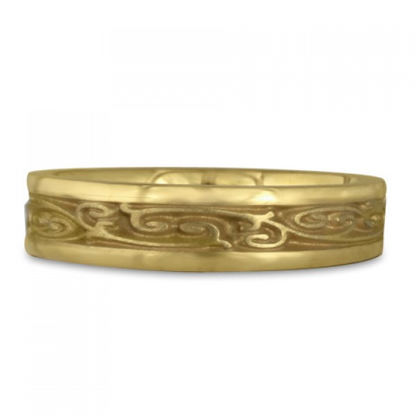 Extra Narrow Continuous Garden Gate Wedding Ring in 18K Yellow Gold