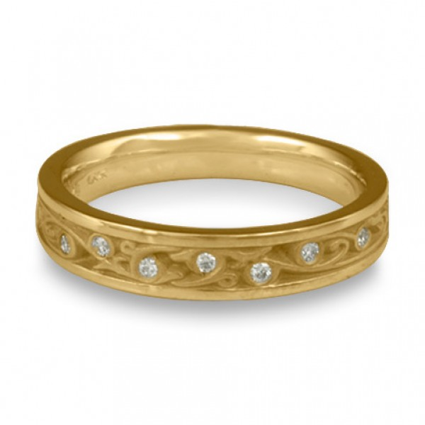 Extra Narrow Continuous Garden Gate With Diamonds Wedding Band in 14k Yellow Gold