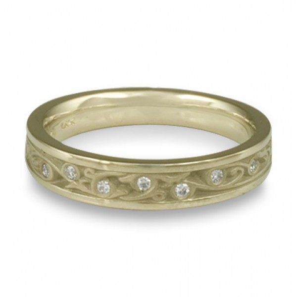 Extra Narrow Continuous Garden Gate With Diamonds Wedding Band in 18K White Gold
