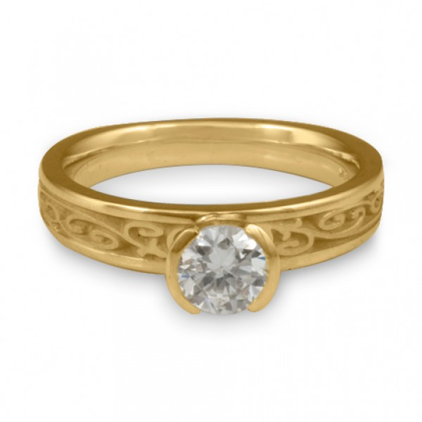 Extra Narrow Continuous Garden Gate Engagement Ring in 14K Yellow Gold