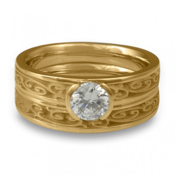 Extra-Narrow Continuous Garden Gate Engagement Ring Set in 14K Yellow Gold