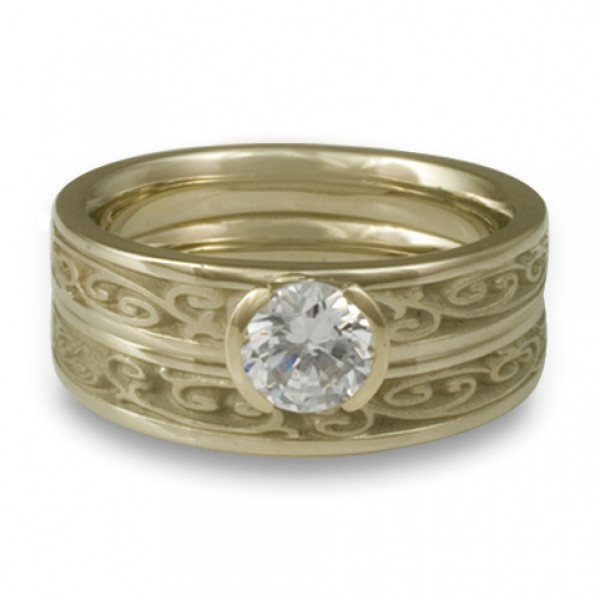 Extra-Narrow Continuous Garden Gate Engagement Ring Set in 18K White Gold