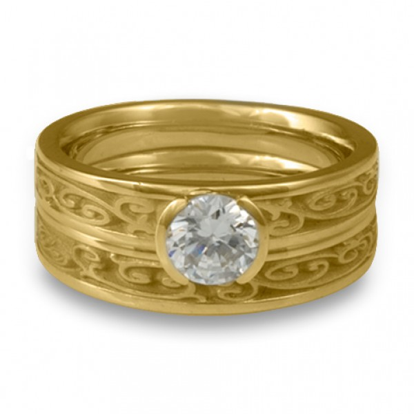 Extra-Narrow Continuous Garden Gate Engagement Ring Set in 18K Yellow Gold