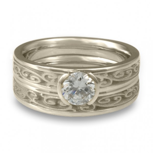 Extra-Narrow Continuous Garden Gate Engagement Ring Set in Platinum