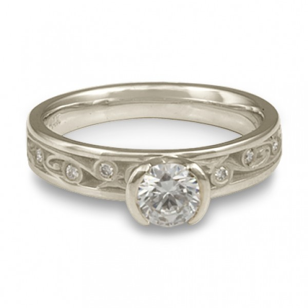 Extra Narrow Continuous Garden Gate With Diamonds Engagement Ring in Platinum