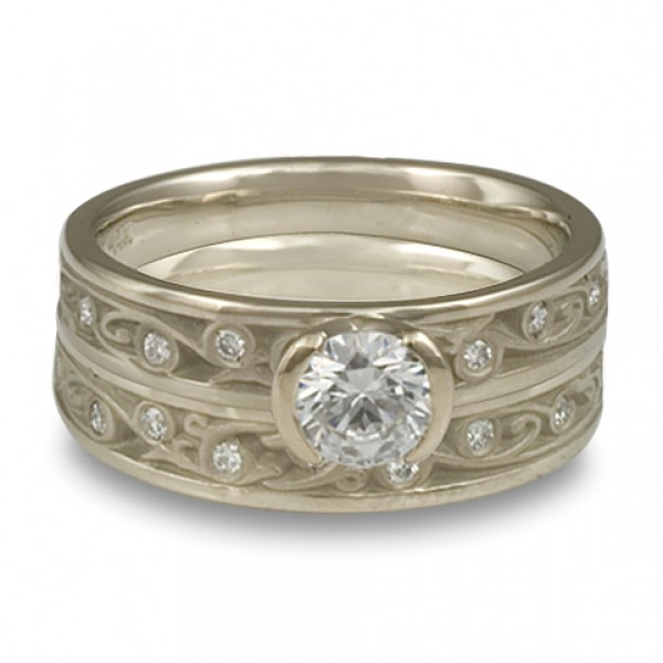 Extra-Narrow Continuous Garden Gate With Diamonds Engagement Ring Set in 14K White Gold