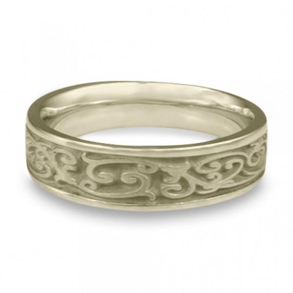 Narrow Continuous Garden Gate Wedding Ring in 18K White Gold