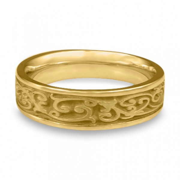 Narrow Continuous Garden Gate Wedding Ring in 18K Yellow Gold