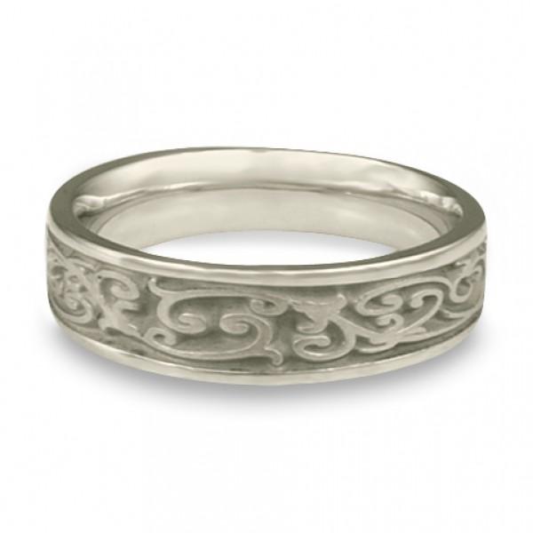 Narrow Continuous Garden Gate Wedding Ring in Platinum