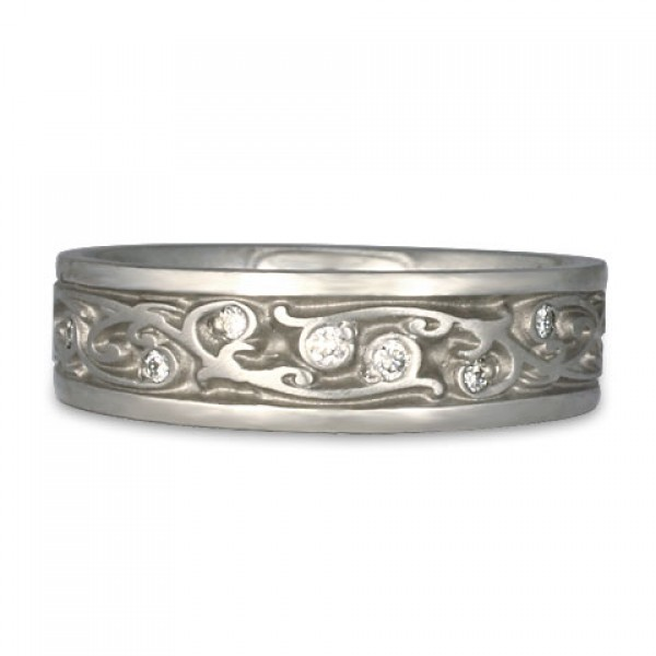Narrow Continuous Garden Gate Wedding Ring with Diamonds in Platinum
