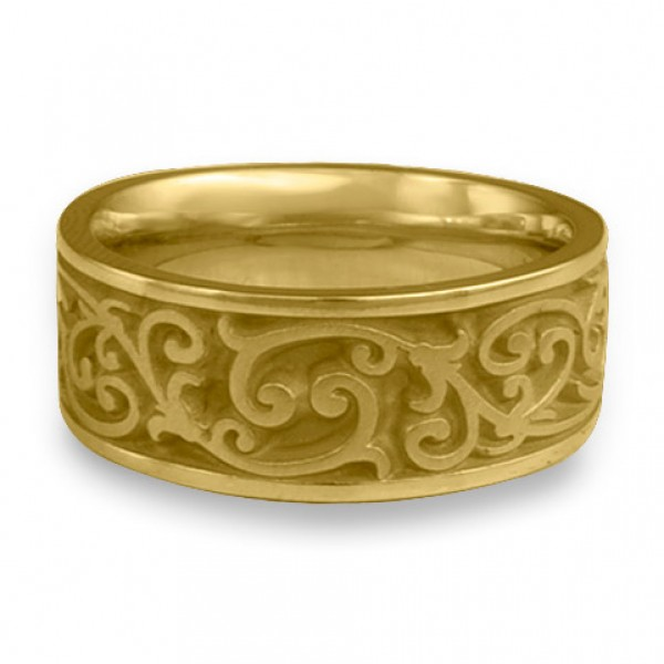 Wide Continuous Garden Gate Wedding Ring in 18K Yellow Gold