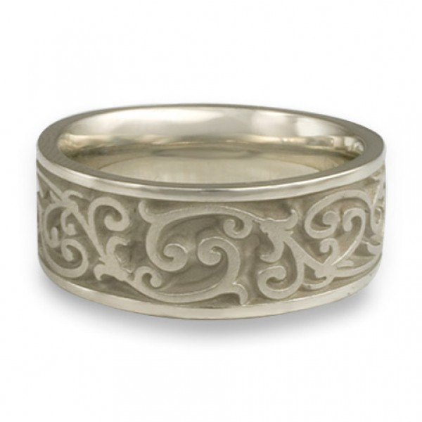 Wide Continuous Garden Gate Wedding Ring in Platinum