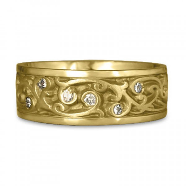 Wide Continuous Garden Gate With Diamonds Wedding Ring in 18K Yellow Gold