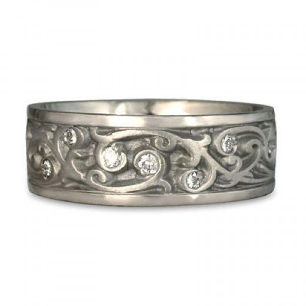 Wide Continuous Garden Gate With Diamonds Wedding Ring in Platinum