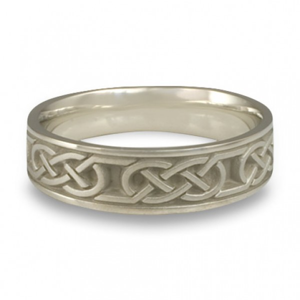 Narrow Love Knot Wedding Ring in 14K White Gold