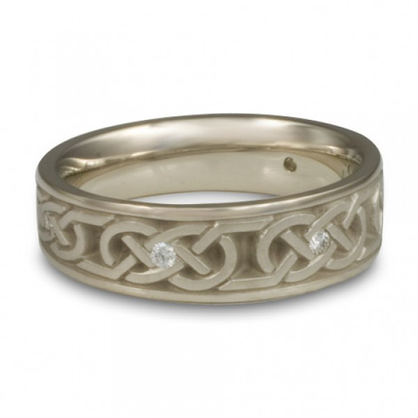 Narrow Love Knot With Diamonds Wedding Ring in 14K White Gold