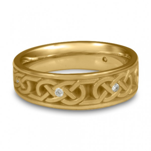 Narrow Love Knot With Diamonds Wedding Ring in 14K Yellow Gold