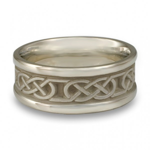 Narrow Self Bordered Love Knot Wedding Ring in 14K White Gold