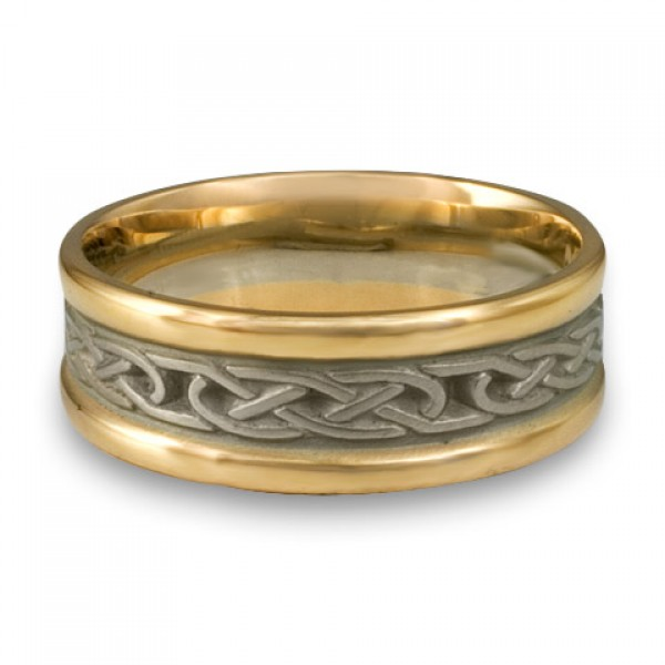 Extra Narrow Two Color Love Knot Wedding Ring in 18K Two Tone Gold