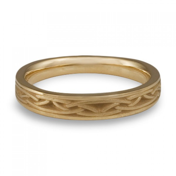 Extra Narrow Celtic Arches Wedding Ring in 14K Yellow Gold
