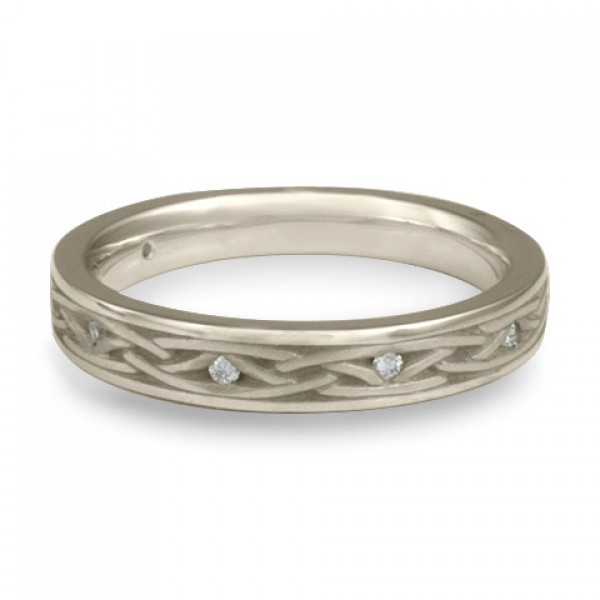 Celtic Arches Wedding Band with Diamonds in Platinum