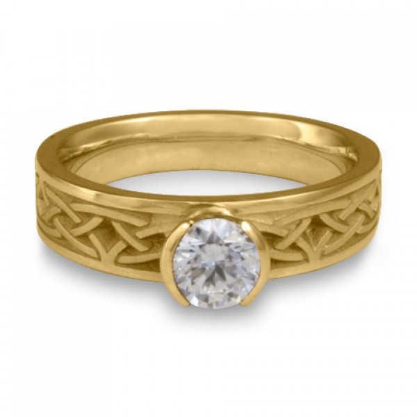 Extra Narrow Celtic Arches Engagement Ring in 18K Yellow Gold