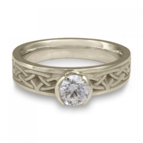 Extra Narrow Celtic Arches Engagement Ring in Platinum