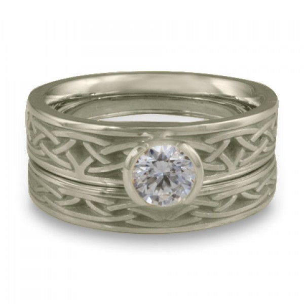 Extra Narrow Celtic Arches Engagement Ring Set in 14K White Gold