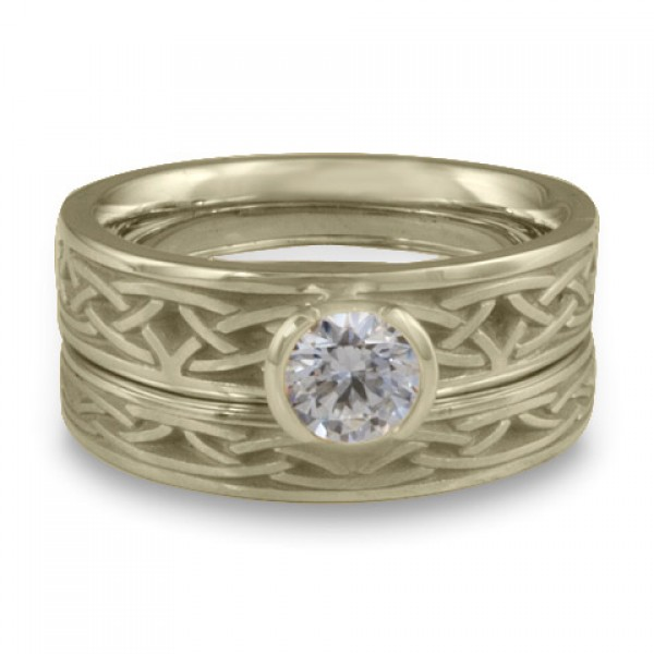 Extra Narrow Celtic Arches Engagement Ring Set in 18K White Gold